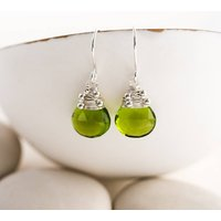 Peridot Quartz Drop Earrings