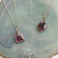 Cranberry Pink Tourmaline Rose Gold Birthstone Necklace, Gold