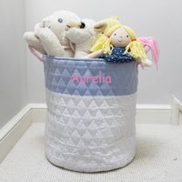 Personalised Pink Large Quilted Toy Bag