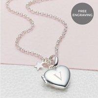 Personalised Petite Sterling Silver Heart Girls Locket, Silver