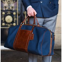 Canvas And Leather Lightweight Luggage Bag Giovane M