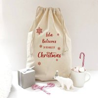 Believe In The Magic Personalised Christmas Eve Sack