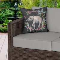 Painted Elephant Water Resistant Garden Outdoor Cushion