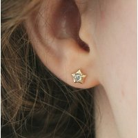 9ct Gold Diamond Star Stud Earrings, Gold