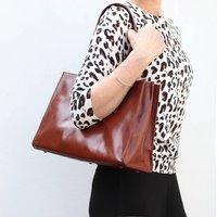 Structured Leather Handbag, Dark Tan