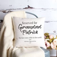 Reserved For Grandad Personalised Cushion, Black/White