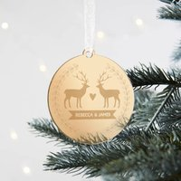 Christmas Bauble For Couple Gold Stag