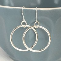 Handmade Silver Hoop Earrings, Silver