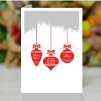 Husband Personalised Baubles Christmas Card