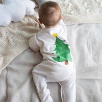 Christmas Tree Baby Sleepsuit, White