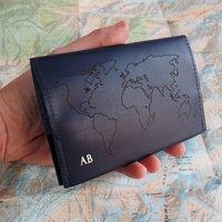 Gold Monogram World Map Leather Passport Holder