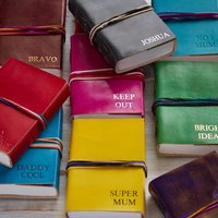 Personalised Handmade Three String Leather Journal, Black/Cerise/Chocolate