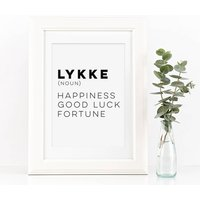 Lykke Happiness Typography Quote Print