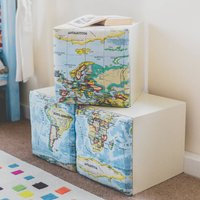 Childrens Padded Map Storage Cube