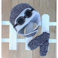 Knitted Blue Aviator Hat And Gloves Set