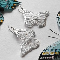 Sterling Silver Monarch Butterfly Earrings, Silver
