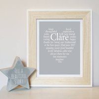 Personalised Thank You Bridesmaid Print, Grey/Spearmint/Blue