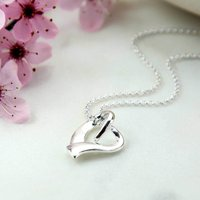 Sterling Silver Ribbon Heart Necklace, Silver
