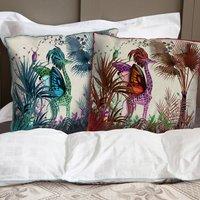 Tropical Giraffe Decorative Cushion, Red/Blue