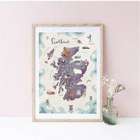 Scotland Illustrated Map Fine Art Giclee Print