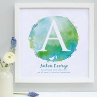 Personalised Christening Watercolour Framed Print, Lilac/Lime/Light Blue