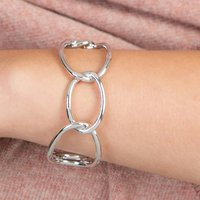 Linked Chain Bangle, Silver/Rose Gold/Rose