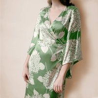 Green Hydrangea Print Crepe Wrap Dress