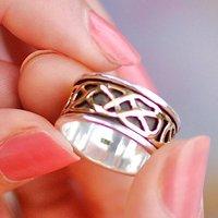 Men's Celtic Sterling Silver Spinning Ring, Silver