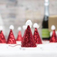 Christmas Mini Red Glitter Santa Hats