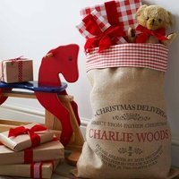 Personalised Ampleforth Christmas Sack With Gingham Top