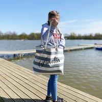 Personalised Large Stripe Beach Bag