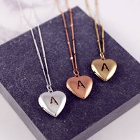 Personalised Heart Letter Locket Necklace, Silver/Gold/Rose Gold