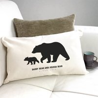 Personalised 'Daddy And Baby Bear' Silhouette Cushion, Black/Grey/Teal