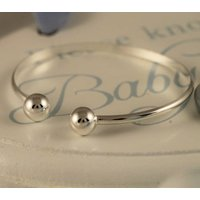 Sterling Silver 925 Baby Torque Christening Bracelet, Silver