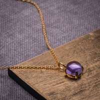 Cabachon Amethyst And Yellow Gold Plated Necklace, Gold