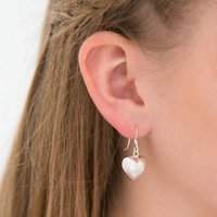 Puffed Heart Silver Earrings, Silver