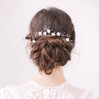 Wedding Hair Pins Floral, Blue/Ivory/Silver
