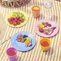 Colourful Melamine Picnic Camping Tumbler / Cup, Green/Mint/Purple