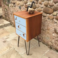 Mid Century Blue Formica Swallows Design Nightstand