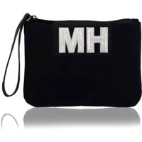 Personalised Velvet Clutch Bag With Leather Wristlet