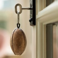 Vintage Leather Rugby Ball Keyring