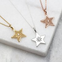 Diamond Set 18ct Gold Or Silver Star Necklace, Silver