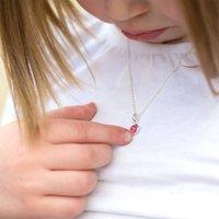Girls Silver Birthstone Necklace, Silver