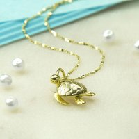 Gold Plated Sterling Silver Turtle Necklace, Silver