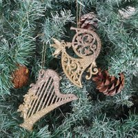 Christmas Glitter Musical Instrument Tree Decoration