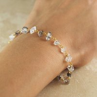 Gold And Silver Herkimer Diamond Bracelet Gift, Silver