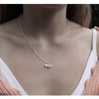 Sterling Silver Small Bee Necklace, Silver