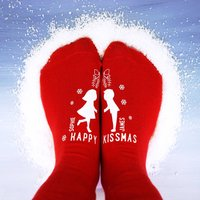 Personalised Happy Kissmas Socks, Red/White/Black