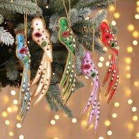 Set Of Five Handmade Festive Bird Hanging Decorations
