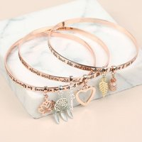 Rose Gold Meaningful Quote Bangle, Gold